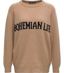 alberta ferretti beige bohemian life sweater