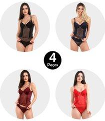 kit 4 corpete imi lingerie corset corselet com bojo em microfibra e renda fio duplo milla multicolorido - multicolorido - feminino - dafiti