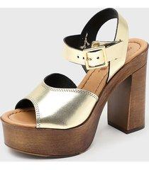 sandalia cuero dorado zappa