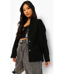 petite oversized corduroy blouse, black