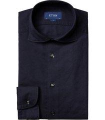 men's big & tall eton contemporary fit solid cotton & silk dress shirt, size 18 - blue