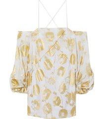 cold-shoulder metallic floral-print cotton-voile mini dress
