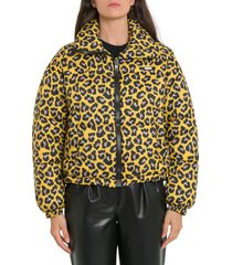msgm leopard print bomber jacket