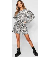 leopard print balloon sleeve oversized sweatshirt dress, ecru