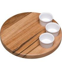 kit para petiscos tramontina em madeira muiracatiara com potes em porcelana 4 peças 10239592