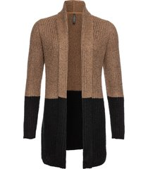 cardigan lungo color block (beige) - rainbow