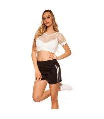 trendy shorts met strepen jaren 90 retro look zwart