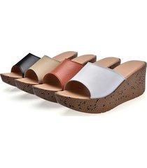 sandali casual con zeppa, resistenti antiscivolo, per donna