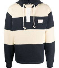 acne studios face hooded rugby striped hoodie - blue