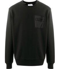calvin klein logo chest-pocket sweatshirt - black