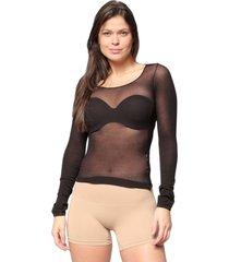 camisa selene segunda pele manga longa feminina - preto - feminino - dafiti