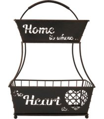 mikasa home is where the heart is 2 tier flatback basket