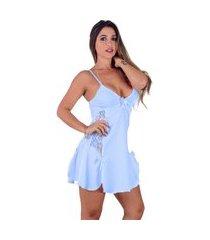 camisola vip lingerie em microfibra e renda azul