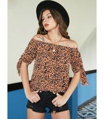 yoins blusa de manga larga con hombros descubiertos y leopardo ajustable naranja