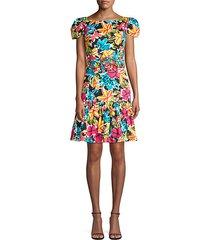 floral cap-sleeve dress