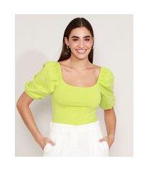 blusa básica manga bufante decote reto verde