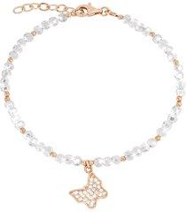 bracciale farfalla in argento 925 dorato rosé, zirconi e cristalli per donna