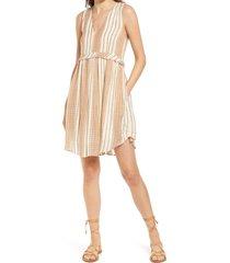 women's dra alhena stripe babydoll dress, size large - brown