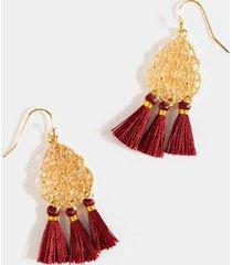 esther filigree tassel drop earrings - burgundy