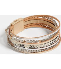 maurices womens animal print multi row magnetic bracelet gray