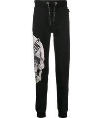 philipp plein rhinestone skull track pants - black