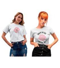 kit 2 camisetas femininas my t-shirt flores branca