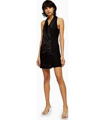 black satin tuxedo dress - black