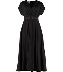 prada gathered flared crepe dress