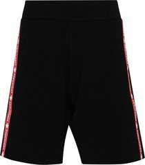 dsquared2 logo tape wool track shorts - black