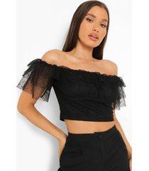 dobby mesh off shoulder top met franjes, black