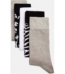 mens multi assorted colour animal print socks 5 pack