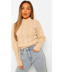 petite cable knit high neck puff sleeve sweater, cream