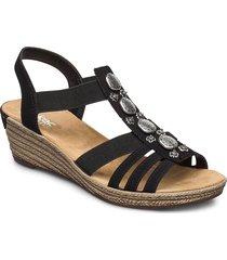 624b4-00 sandalette med klack espadrilles svart rieker