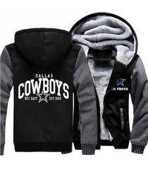 dallas cowboys hoodie zip up jacket coat winter warm black and gray