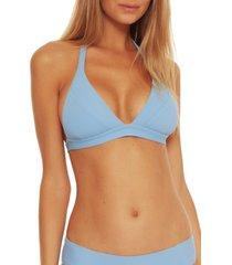 women's becca fine line rib bikini top, size large - blue
