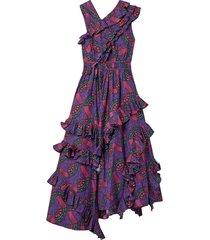 imogen asymmetric ruffled printed cotton-poplin midi dress