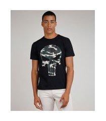 camiseta masculina o justiceiro manga curta gola careca preto