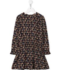 bonpoint mauve floral flared dress - black