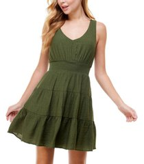 city studios juniors' tiered tie-back a-line dress