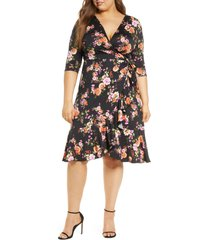 plus size women's kiyonna flirty flounce wrap dress, size 0x - black