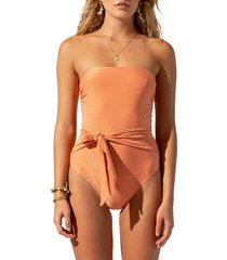 suboo women's farrah belted one piece swimsuit - coral - size xs