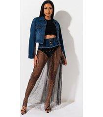 akira blessings to spare mesh denim skirt