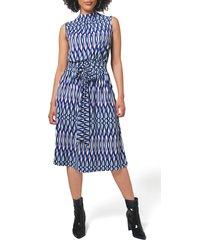 women's leota mindy print midi dress, size small - blue