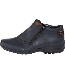 rieker-skor med dubbla dragkedjor rieker blå::konjak