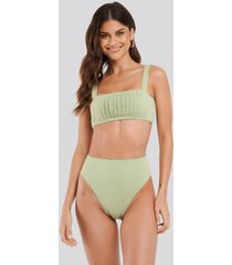 na-kd swimwear structured lace edge high waist bikini panty - green