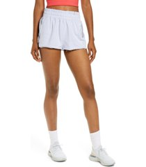 free people fp movement halfway there french terry sweat shorts, size large in bleached lavender at nordstrom
