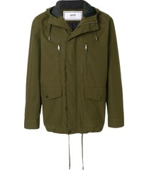 ami paris multi-pocket parka - green