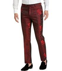 paisley & gray slim fit suit separates formal pants red floral jacquard