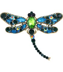 spilla con strass cristalli di lusso a forma di libellula badge a maglione regalo per donna uomo