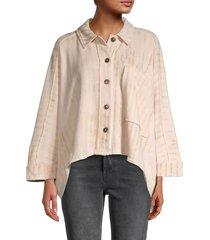 free people women's montauk raw-edge shirt jacket - tea multi - size l
